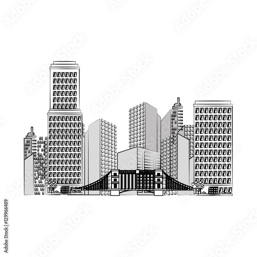 Fototapety, obrazy: great city buildings icon vector illustration design
