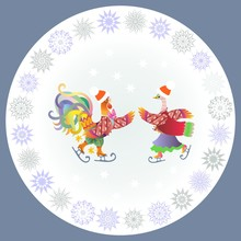 Chinese Year Of The Rooster. Decorative Plate With Cockerel And Duck Ice Skating And Ornamental Border - 2 .