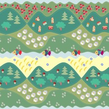 Summer Seamless Pattern - 1. Print For Fabric, Paper, Wallpaper, Wrapping. Vector Illustration. Countryside.