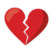 Red Heart Broken Sad Separation Vector Illustration Eps 10