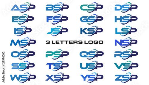 Photo 3 letters modern generic swoosh logo ASP, BSP, CSP, DSP, ESP, FSP, GSP, HSP, ISP
