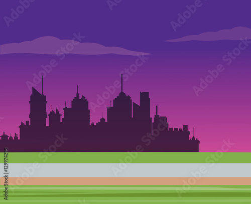 Spoed Foto op Canvas Violet silhouette city night road background vector illustration eps 10
