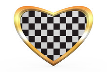 Checkered Racing Flag In Heart Shape, Golden Frame