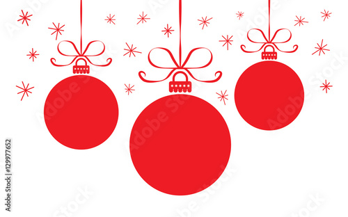 Obraz christmas card with colorful red  balls - fototapety do salonu