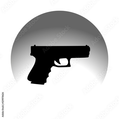 Fotografia, Obraz  Glock on black background. Flat icon.
