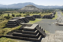 View From Pyramid Of The Moon Of The Avenue Of The Dead And The Pyramid Of The Sun In Background, Teotihuacan, 150AD To 600AD And Later Used By The Aztecs, North Of Mexico City, Mexico