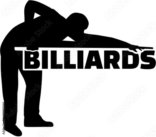 Photo Silhouette pool player with billiards word