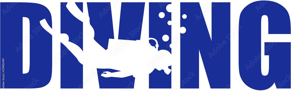 Fototapeta Scuba diving word with silhouette