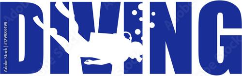 Fotografía Scuba diving word with silhouette
