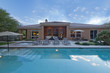Leinwanddruck Bild - Rear view of luxury villa with swimming pool