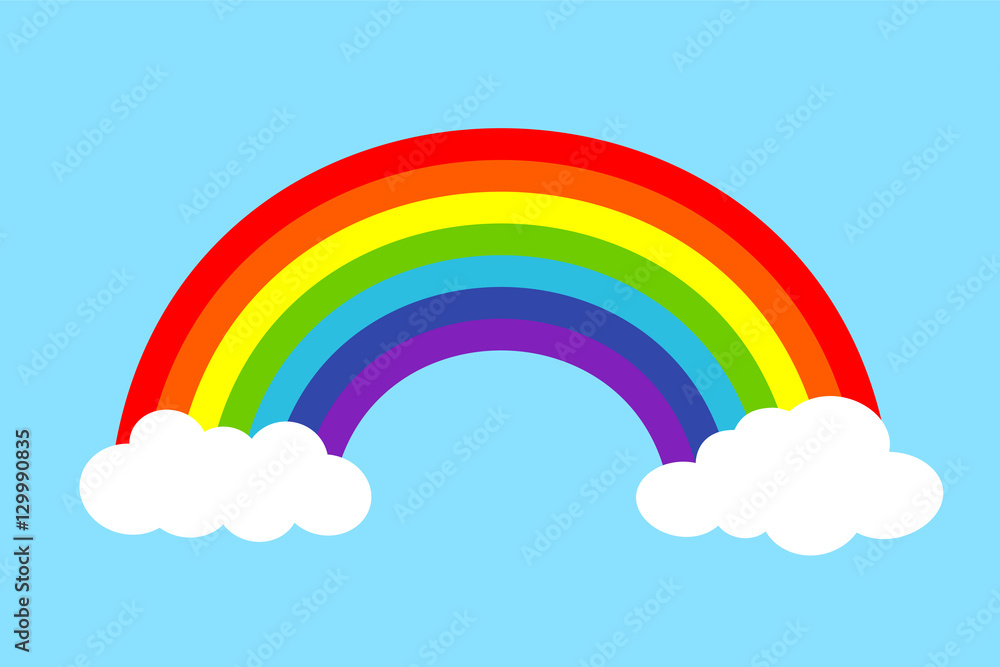 Fototapety, obrazy: Colorful rainbow with clouds, Vector illustration.