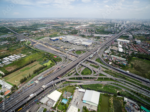 Poster Cracovie Aerial view above the busy Motorway & Ring Roads Inter-Change Systems