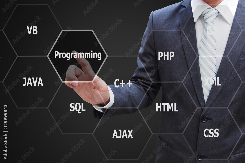 Fototapeta Programmer hand touching virtual panel of programming languages,