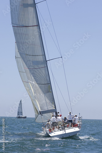 Garden Poster Crew on board yacht in competitive team sailing event