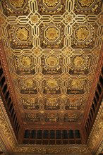 The Throne Room, Caisson Ceiling, Typical Decor, The Aljaferia Palace, Dating From The 11th Century, Saragossa (Zaragoza), Aragon, Spain