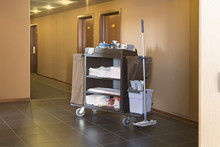 Cleaners Trolley In A Hotel Corridor