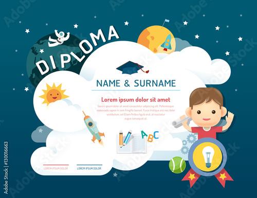 certificate kids diploma kindergarten template layout space buy
