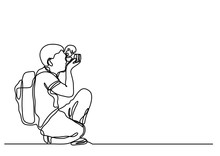 Continuous Line Drawing Of Amateur Photographer Making Pictures