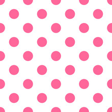 Seamless Polka Dot Pattern Pink Background
