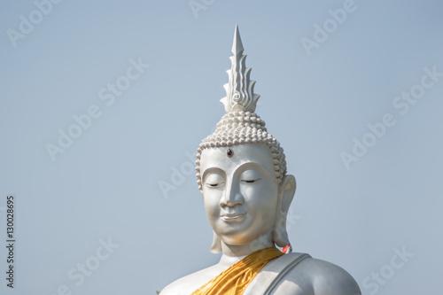 Recess Fitting Buddha The White buddha status on blue sky background , Thailand
