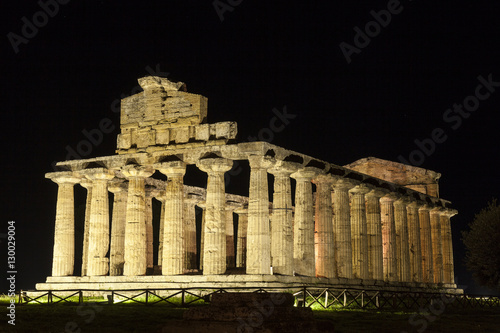 Foto op Aluminium Rudnes Archaeological site of Paestum in Italy. Greek Temple of Athena or Cerere. Night view