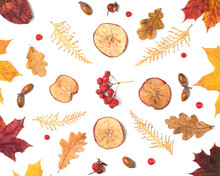 Autumn Fall Flat Lay Composition Isolated On White Background