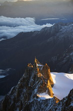 Sunrise On Aiguille Du Midi Cable Car Station, Mont Blanc Range, Chamonix, French Alps, France