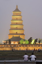 Big Goose Pagoda Park, Tang Dynasty Built In 652 By Emperor Gaozong, Xian City, Shaanxi Province, China