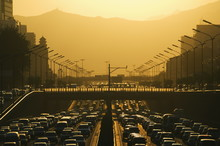 Sunset Over City Ring Road During Rush Hour, Beijing, China