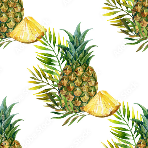Naklejka dekoracyjna Ananasowy wzór na białym tle - akwarela