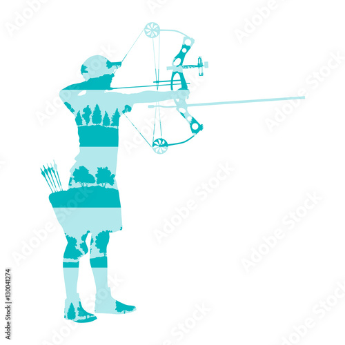 Archer man with bow and arrow vector background abstract illustr