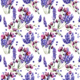 Wildflower lavender flower pattern in a watercolor style isolated. - 130050870