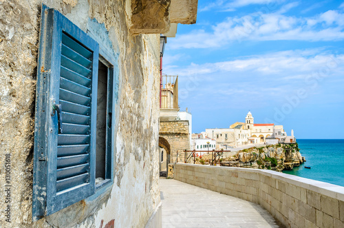 vieste gargano apulia italy window mediterranean sea village Canvas Print