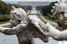 Royal Palace Seen From The Fountain Of Venus And Adonis, Caserta, Campania