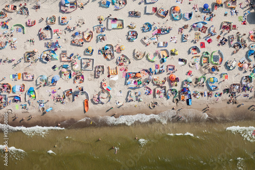 aerial view of sandy beach on Baltic sea