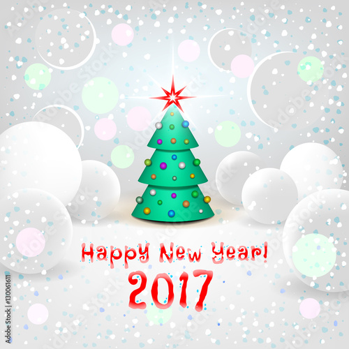 new year background with elegant cartoon christmas tree
