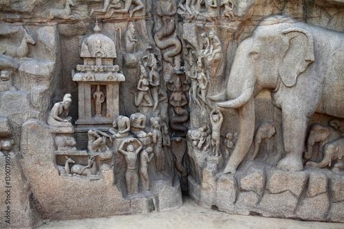 Fotografie, Obraz  Arjuna's Penance Bas-relief in Mahabalipuram