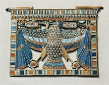 Pectoral Decorated With The Vulture Of Upper Egypt, Made Of Gold Cloisonne Inlaid With Glass Paste, From The Tomb Of The Pharaoh Tutankhamun, Discovered In The Valley Of The Kings, Thebes, Egypt