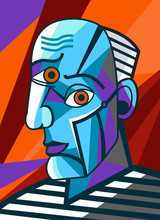 Cubist Great Painter Face Port...