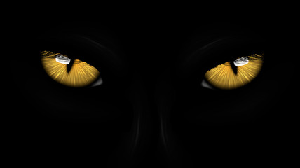 Fototapetayellow eyes black Panther