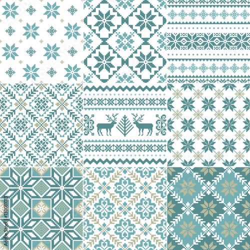 Set of traditional Christmas patterns