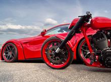 Sportwagen Und Motorrad Dynamik