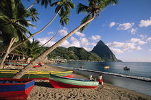 Fishing Boats At Soufriere With The Pitons In The Background, Island Of St. Lucia, Windward Islands