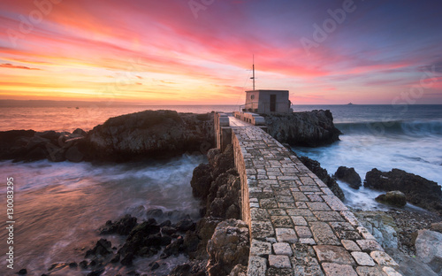 Foto op Plexiglas Lavendel The Stone Bridge and a beautiful sunrise