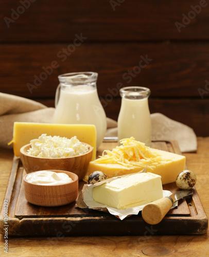 Printed kitchen splashbacks Dairy products Assorted dairy products (milk, yogurt, cottage cheese, sour cream) rustic still life