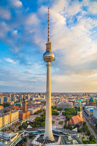 Poster Berlin Berlin TV tower at sunset, Germany