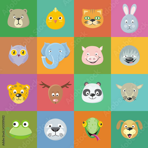 Collection of Cute Animal Faces. Head Icon Set.