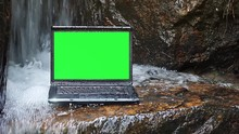 Laptop Green Screen In Waterfall
