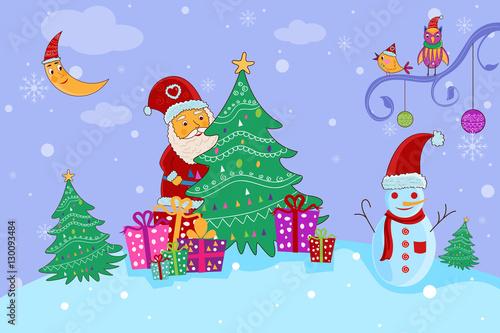 In de dag Regenboog Santa with gift for Merry Christmas holiday celebration background