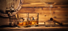 Glasses Of Whiskey With Ice Cu...